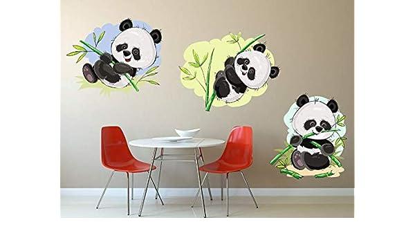 Decor Delight ' Cute Pandas ' Wall Sticker (PVC Vinyl, 60 cm