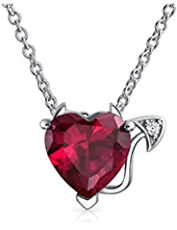 Bling Jewelry Simulated Ruby Red Heart Devil Pendant Sterling Silver Necklace 16 Inches