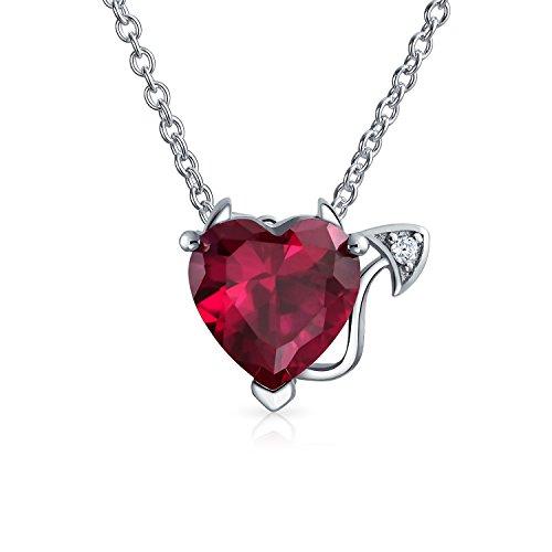 Valentine Rot CZ Teufel Herz Zirkonia Anhänger Mit Halskette Für Damen 925 Sterling Silber 16 Zoll