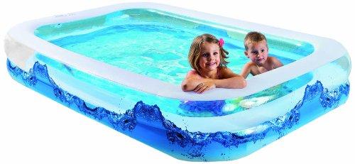 """Wehncke 12243 Jumbo Pool\""""Water Wave\""""mit 2 Wülsten, Bodenablassventil, 262 x 175 x 50 cm"""