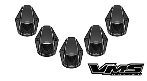 80-97 VMS Racing BLACK BASE Cab Roof Marker Lights in SMOKE LENS with WHITE LEDs for CRL 264139BK for FORD F350 F250 F150 (5 Piece COVERS with BASE Complete Kit) 1980-1997