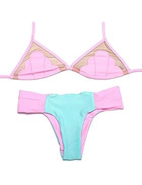 PU&PU Bikini a righe donna da spiaggia due pezzi Set Reggicalze Contrast Patchwork Reggiseno Senza Padless