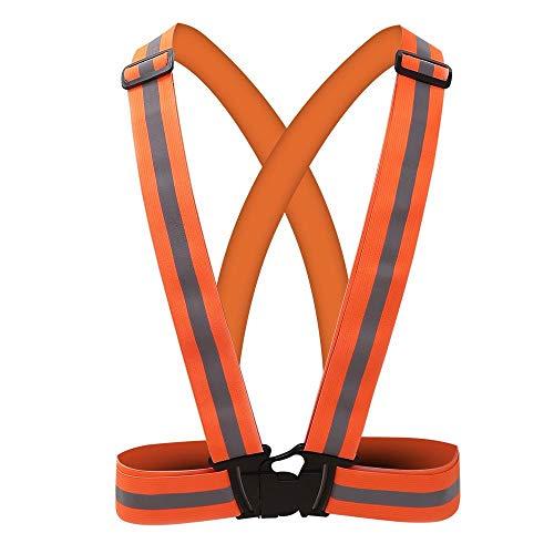 Reflektierende Weste mit Warnschutzband for voll einstellbares und vielseitig einsetzbares Laufen Radfahren Motorrad Sicherheit Dog Walk - Warnschutz (Color : Orange) -