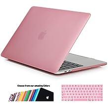 MacBook Air 13 Funda,iNeseon(TM) 2 in 1 [Frosted Series]Ultra Delgado Carcasa Dura Shell Case US Versión Rosa e EU Versión Transparent Cubierta del Teclado para Apple MacBook Air 13/13.3 pulgada [Modelo:A1466 e A1369](Rosa)