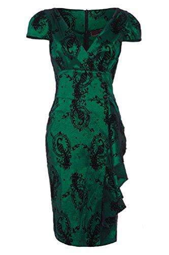 Neue Smaragd Grün Voodoo Vixen 50er Jahre Rockabilly Vintage Stil Wiggle Kleid (S - EU 34 / UK 8 / US 4)