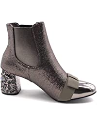 Angkorly - Scarpe Moda Stivaletti Scarponcini Chelsea Boots bi-Materiale  Slip-on Donna Strass 9a7a42149a8