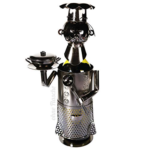 Preis am Stiel Metall-Flaschenhalter Chefkoch | Metall-Skulptur | Flaschenständer | Wohnaccessoire | Dekoration | kreative Geschenkidee für Freunde | ausgefallenes Geschenk | Weinflaschenhalter