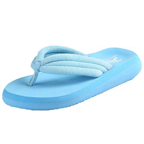 Yiiquan Donna Estate Sandali Pantofole Zeppa Infradito Spiaggia Sandali Azzurro Chiaro