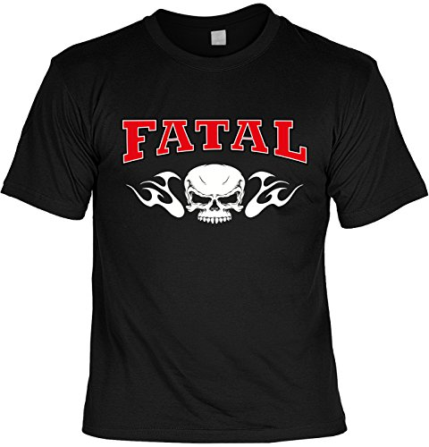 Motiv-Shirt/Biker-Shirt/Herren-Shirt/ lässige Motive/Totenkopf/Skull: Fatal cooler Look/Motorradfahrer Schwarz