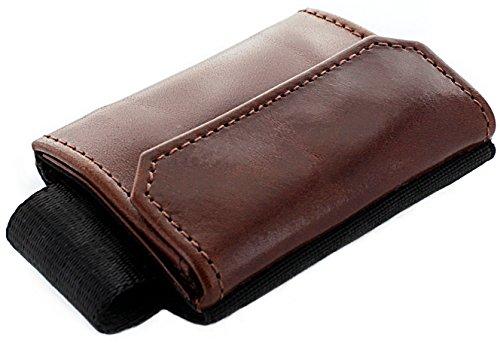 JAIMIE JACOBS Minimalist Wallet Nano Boy Pocket Mini Wallet mit Zugband Kreditkartenetui Mini Geldbörse Textil Kleiner Geldbeutel schmaler Kartenhalter Mini-Portemonee Herren und Damen Dunkelbraun