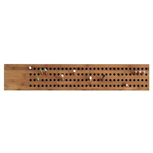 Dänische Wand-Garderobe modern aus zertifiziertem Bambus Holz | Flurgarderobe, Aufhänger für Jacken, Mänten, Mützen, Regenschirme | Wanddekoration -