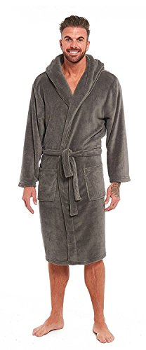 Mens Luxury Super Soft Fleece Dressing Gown Bath Robe Hooded Thick Warm Snuggle Test