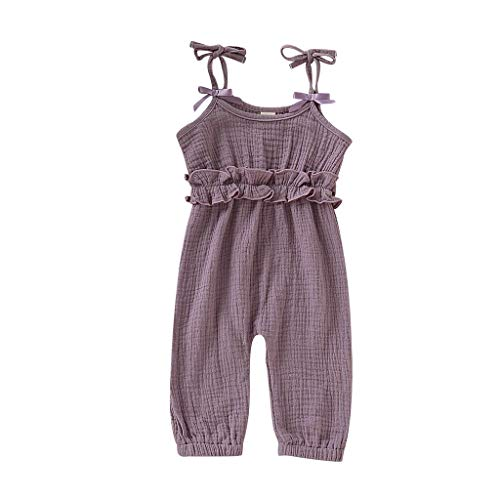 Allegorly Baby Mädchen Strampler Sommer Ärmellose Spielanzug Bogenknoten Bodys Einteiler Leinen Volltonfarbe Kleidung Overall 3-24 Monate (Dress Qualität Kleidung Up)