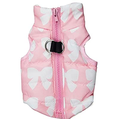 WYXlink Pet Cat Dog Apparel Winter warm Soft Padded Vest Harness Puppy Small Dog Coat Clothes (XS, Pink) by WYXlink