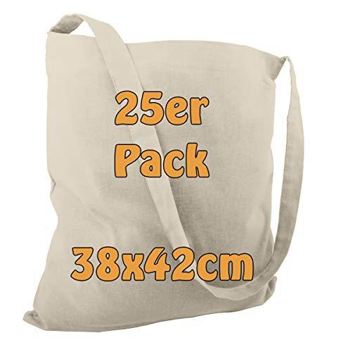Baumwolltasche Jutebeutel Umhängebeutel Strandtasche zum Bemalen oder Einkaufen unbedruckt mit einem Langen Henkel Natur 38x42cm 25 Stück