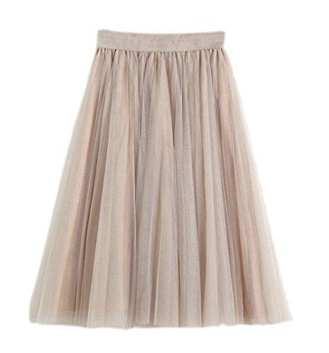 Honeystore Damen's Unterrock 50er Retro Tüllrock Tutu Petticoat Tanzkleid Champagner One Size (Tot 50er Jahre Mädchen Kostüm)
