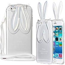 Phone Kandy® Suave cubierta del gel de TPU transparente claro con la cuerda de seguridad y para soporte oídos lindos del conejito de la caja del silicón del gato del gatito carcasa funda (iPhone 5 5s, conejito - Blanco / Borrar)