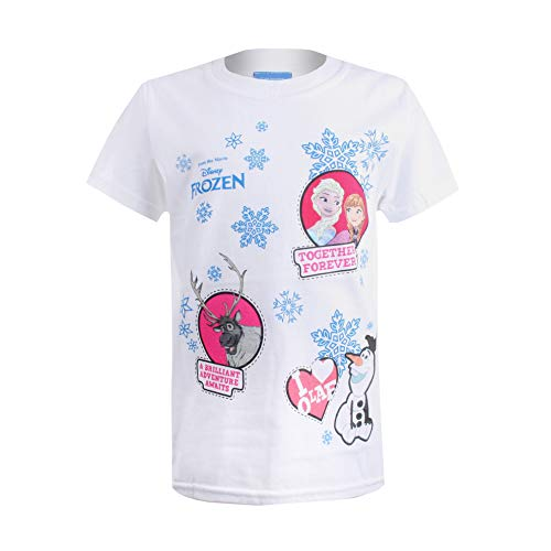 Disney frozen together forever patches t-shirt, bianco white, 3-4 anni bambina