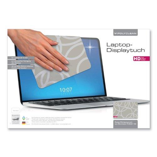 1x POLYCLEAN Displaytuch aus Microfaser P-9000 / Reinigungstuch für Laptops ab 13 Zoll / Schutztuch für Bildschirm, Tastatur & Monitor (29 x 20 cm, Circles beige grau)