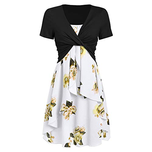 LILIHOT Damenmode Kurzarm Vorne Criss Cross Top + Blumendruck Minikleid Anzüge Damen Strandkleid Boho Tunika Sommerkleid V-Ausschnitt Blumenkleid Lose T-Shirt Kleid Floral Minikleid -