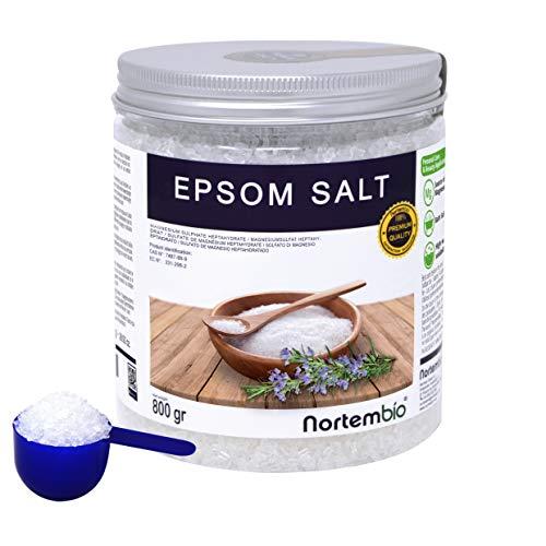 Epsom Salz NortemBio 800 g. Konzentrierte Magnesiumquelle, 100% Natürliches Salz. Bad und Körperpflege. E-Book Inklusiv.