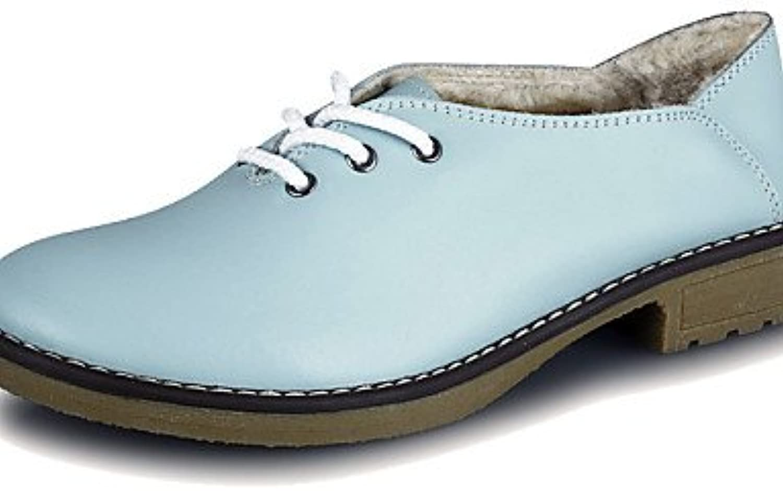 NJX/ hug Zapatos de mujer-Tacón Bajo-Comfort-Oxfords-Exterior / Casual-Cuero-Azul , blue-us5.5 / eu36 / uk3.5...