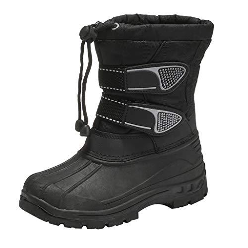 Yowablo Stiefel Kids Baby Schneeschuhe Outdoor Sport Winter Warme Stiefel wasserdichte Plattform Stiefel Baumwollschuhe (3-3.5 Jahre,Schwarz)