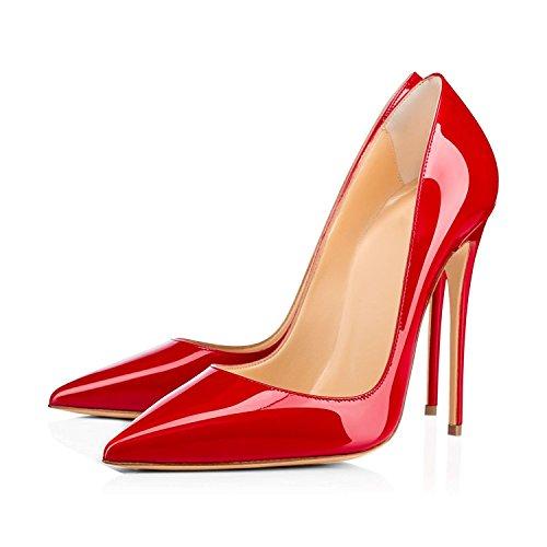 Tacco Sexy 120 Di Di Alto Tacco Millimetri Scarpe Rossa Grandi Dimensioni Spillo Edefs Da Vernice Scarpe A Donna fqgzPqYt