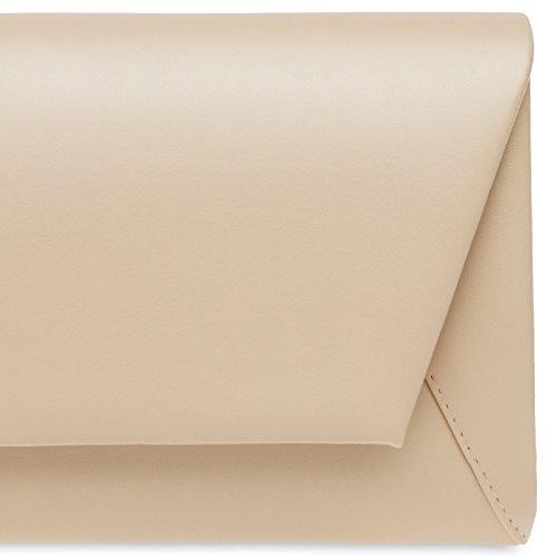 CASPAR TA410 Damen Metallic Envelope Baguette Clutch Tasche Abendtasche Nude