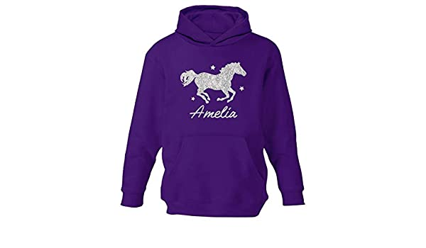 CHILDRENS PERSONALISED RIDER AND HORSE HOODIE GIRLS PONY RIDING HOODY AGES 1-12