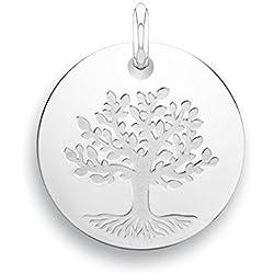 ARBRE DE VIE - Médaille Laïque - Or blanc 9 carats - Diamètre: 18 mm - www.diamants-perles.com