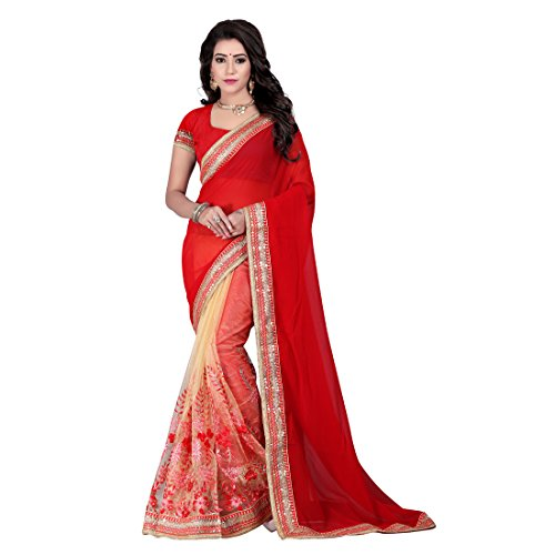 Tiana Creation Georgette Saree (Kajol_Red_Red)