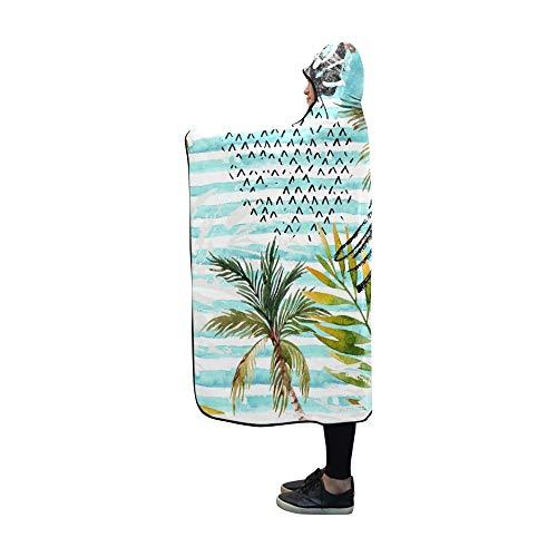 JOCHUAN Mit Kapuze Decke abstrakt Sommer Aquarell Decke 60 x 50 Zoll Comfotable mit Kapuze werfen Wrap Collage Fleece