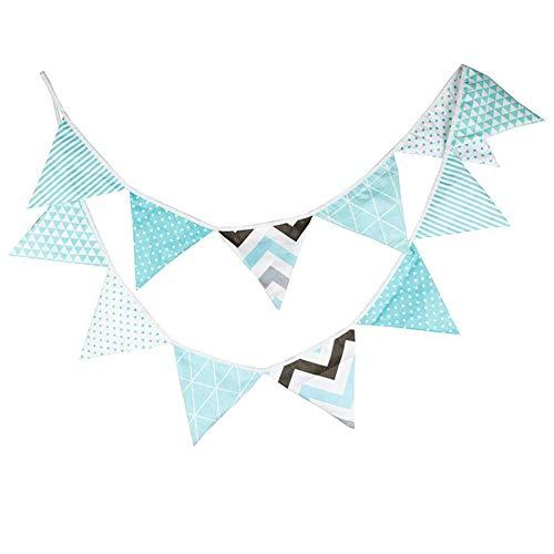 Nikgic Schöne Blau Dreieck Wimpel Bunting Farbenfroh Wimpel Wimpeln Wimpelkette auf Baumwolle Fahnen Banner für Weihnachts Hochzeit Geburtstag Party Dekor