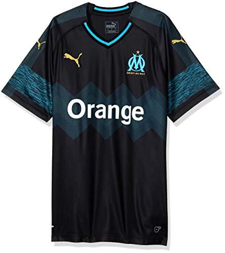 Puma Olympique de Marseille Away Shirt Replica SS Maillots Homme Noir (Puma Black/Bleu Azur), FR : 2XL (Taille Fabricant : XXL)