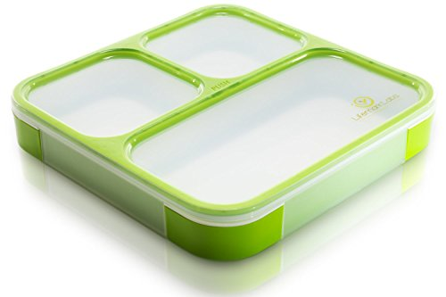 Bento Lunch Box by lifemark Labs–stilvoll Lecksicher Lunch Kit mit 3Fächer–für Kinder und Erwachsene–Einfache Teil Kontrolle–Behälter ist Spülmaschine und Mikrowelle Friendly grün