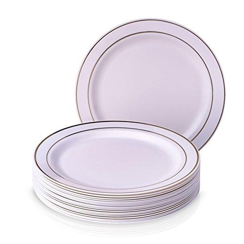 Goldene Schein Collection Elegante China Einweg rund weiß mit Gold Bordüre Teller Geschirr Set für Hochzeit, Partys und Events–Schwere Kunststoff Teller (20Stück) (Gold-kunststoff-platten-ladegerät)
