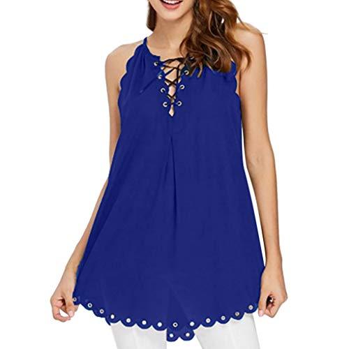 BHYDRY Frauen-Sommer-beiläufiges Chiffon- T-Shirt ärmellose ()