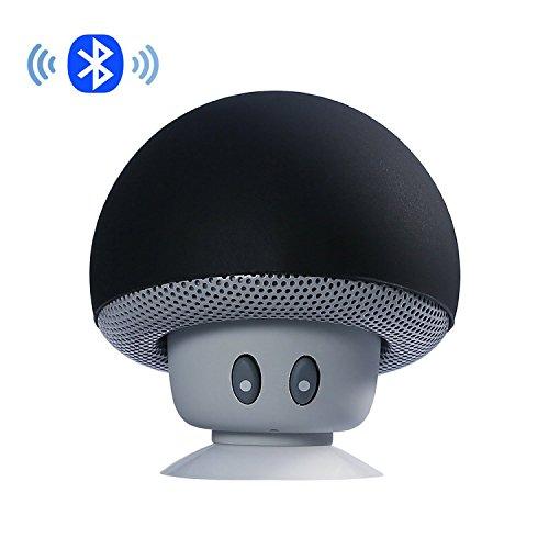 Stereo-lautsprecher, Bluetooth Auto (IPUIS Mini tragbarer Stereo Bluetooth Lautsprecher mit wasserdichtem Pilzes Entwurf Handfrei-Mikrofon und Saugnapf - Schwarz)