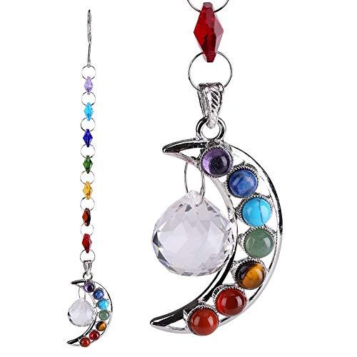 25,4 cm Aufhängen Chakra Suncatcher Naturstein Kristall Mond Crystal Prism Ball Crescent handgefertigt Rainbow Kugel Pendel Anhänger