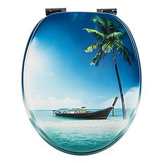 WC-Sitz Dekor Südseeboot | Toilettensitz Karibik | WC-Brille aus Holz | Soft-Close Absenkautomatik | Metall-Scharnier | Fast-Fix-Schnellbefestigung | Toilettendeckel | Klodeckel   WC Deckel