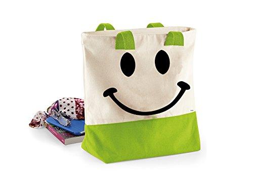 Smiley Face-Damen Lustige Sprüche Neuheit Bagbase Westcove Leinwand-Taschen Shopper-Tasche- Natürliche / Apfel