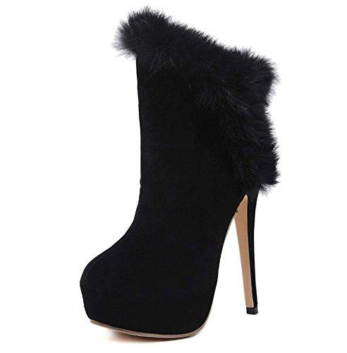 Black Scarpe da Corte Scarpe Punta 14cm 40 Donne spessa Size Scarpe della peluche caviglia 4cm Stivali Eu Pointed Charming Stiletto piattaforma a Pump Dress della 34 Shoes 7R1qF