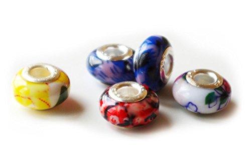 Murano Beads / Charms / Perlen 10 Stück, 925 Sterling Silber Glas, wie Pandora – Basteln Deko Schmuckzubehör Accessoires