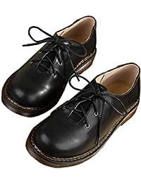 SXSHUN Mocasines para Niñas Zapatos para Uniforme Colegio con Cordones Piel Sintética