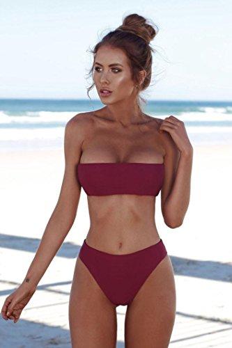 SMILEQ Femme Bandeau Bandage Ensemble bikini push-up brésilien maillots de bain sans bretelles Wrap Taille haute pièces Maillot de bain, bordeaux, petit