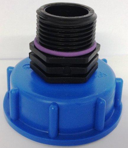 cm135 Bouchons S 60 x 6 avec raccord de filetage Boule AG 2,5 cm pour valve de sortie IBC Boîtes accessories-regenwasser-tank Adaptateurs pour canettes
