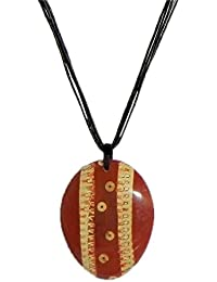 DollsofIndia Coconut Shell Pendant With Cord - Cord Length - 17.25 Inches & Pendant - 3 Inches (GP08-mod) - Brown