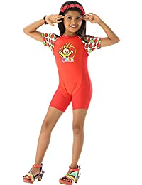 Red one piece gorgeous swim wear with cute cartoon character.