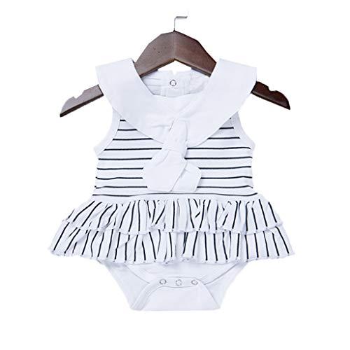 TICOOK Baby-Strampler für Mädchen, ärmellos, gestreift Gr. 70 cm (3-6 Monate), weiß -